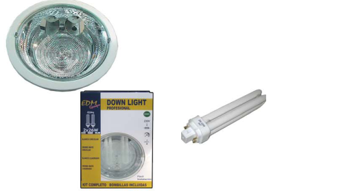 DOWNLIGHT NIQUEL SATINADO 2X26W EDM BLISTER CON BOMBILLAS